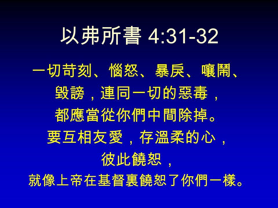 以弗所書 4:31-32 一切苛刻、惱怒、暴戾、嚷鬧、 毀謗,連同一切的惡毒, 都應當從你們中間除掉。 要互相友愛,存溫柔的心, 彼此饒恕,
