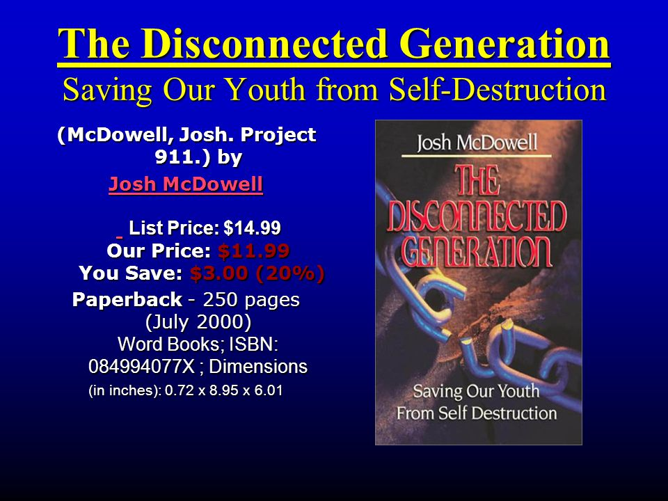 The Disconnected Generation Saving Our Youth from Self-Destruction