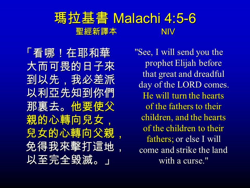 瑪拉基書 Malachi 4:5-6 聖經新譯本 NIV