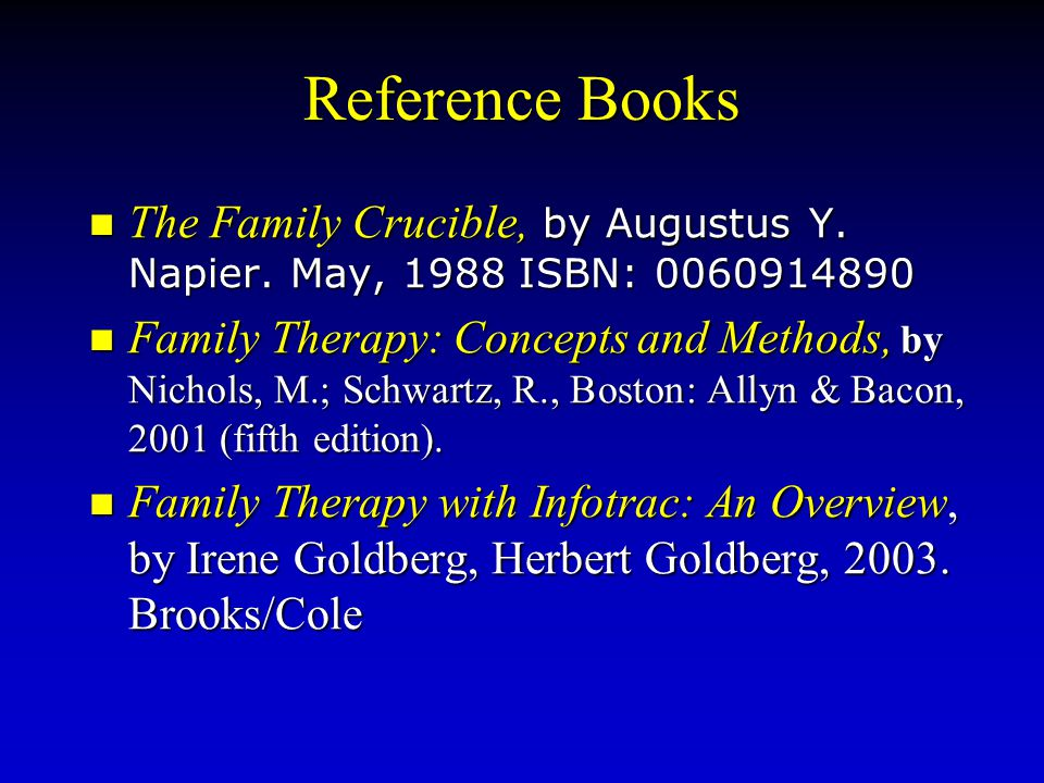 Reference Books The Family Crucible, by Augustus Y. Napier. May, 1988 ISBN: 0060914890.