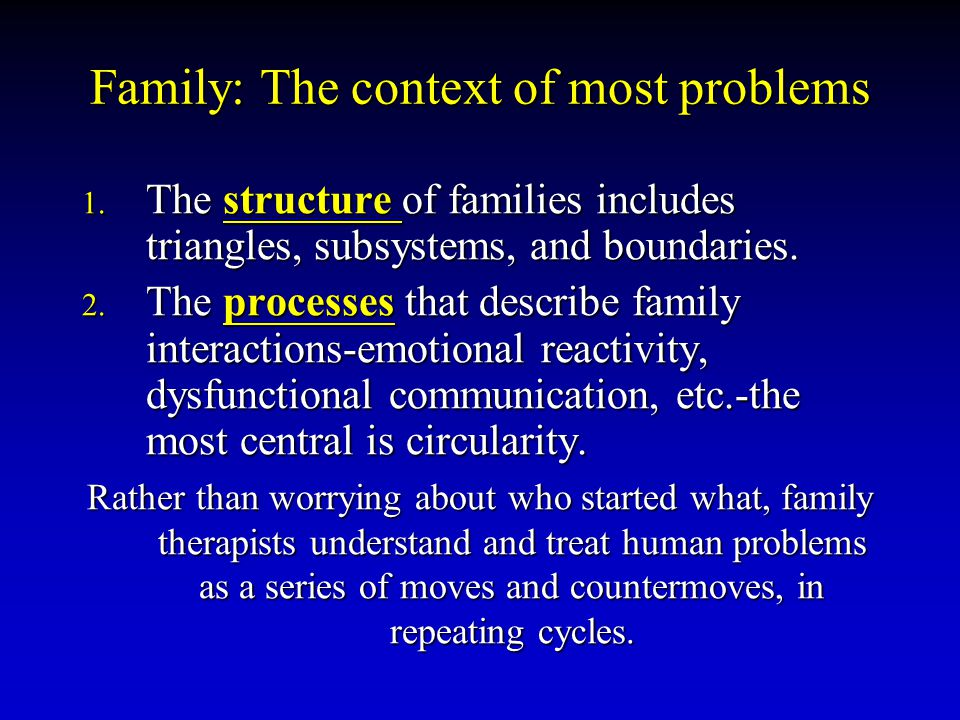 Family: The context of most problems
