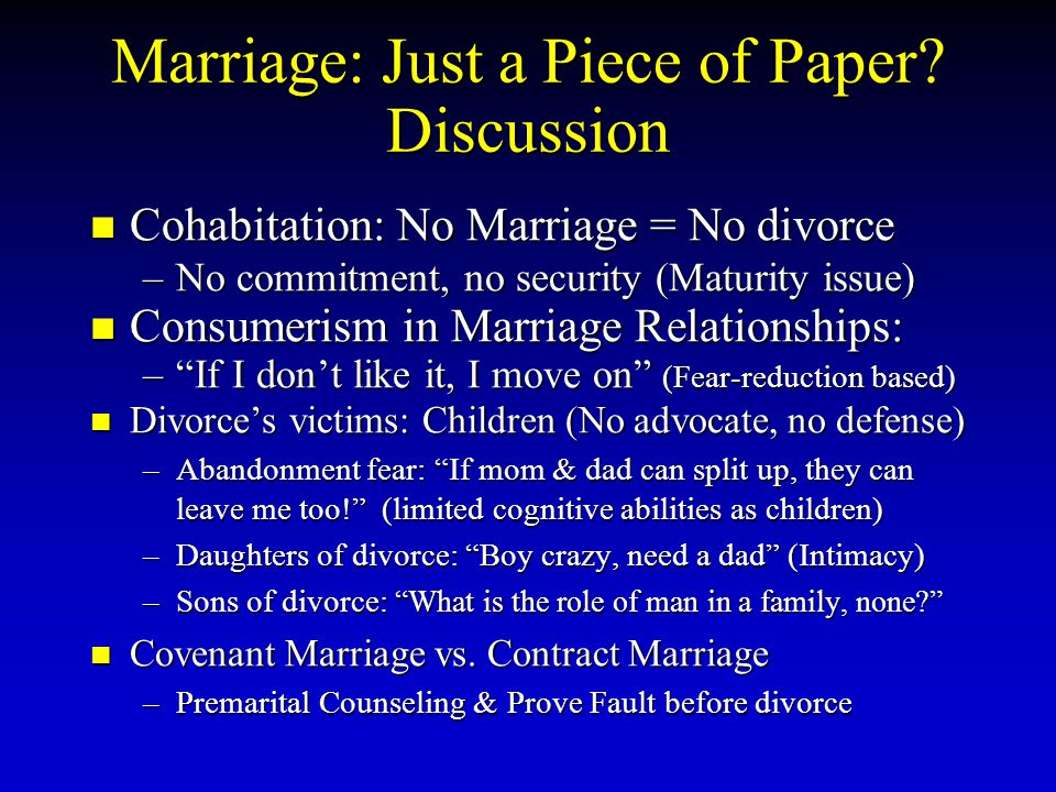 Marriage: Just a Piece of Paper Discussion