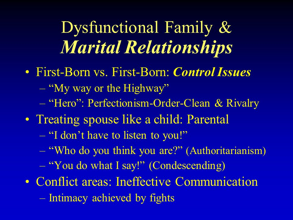 Dysfunctional Family & Marital Relationships