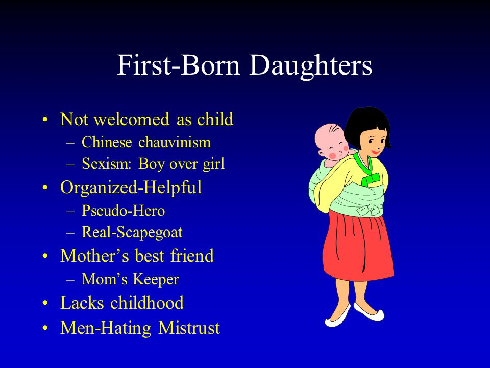 First-Born Daughters Not welcomed as child Organized-Helpful