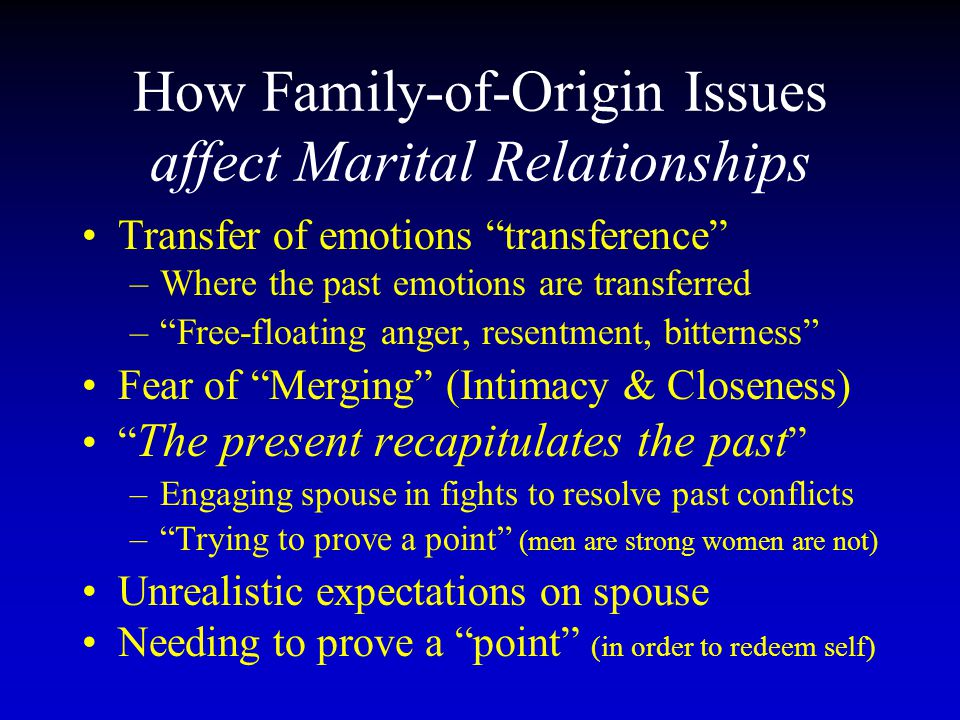 How Family-of-Origin Issues affect Marital Relationships
