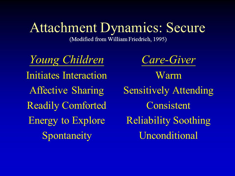 Attachment Dynamics: Secure (Modified from William Friedrich, 1995)