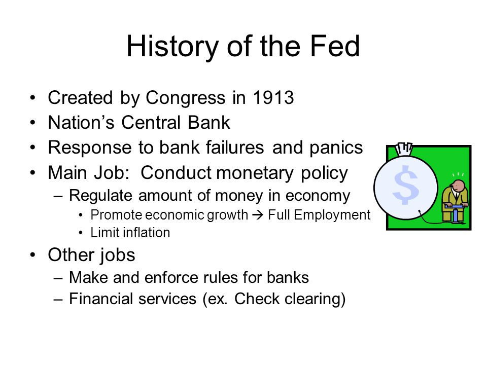 History of the Fed Created by Congress in 1913 Nation's Central Bank