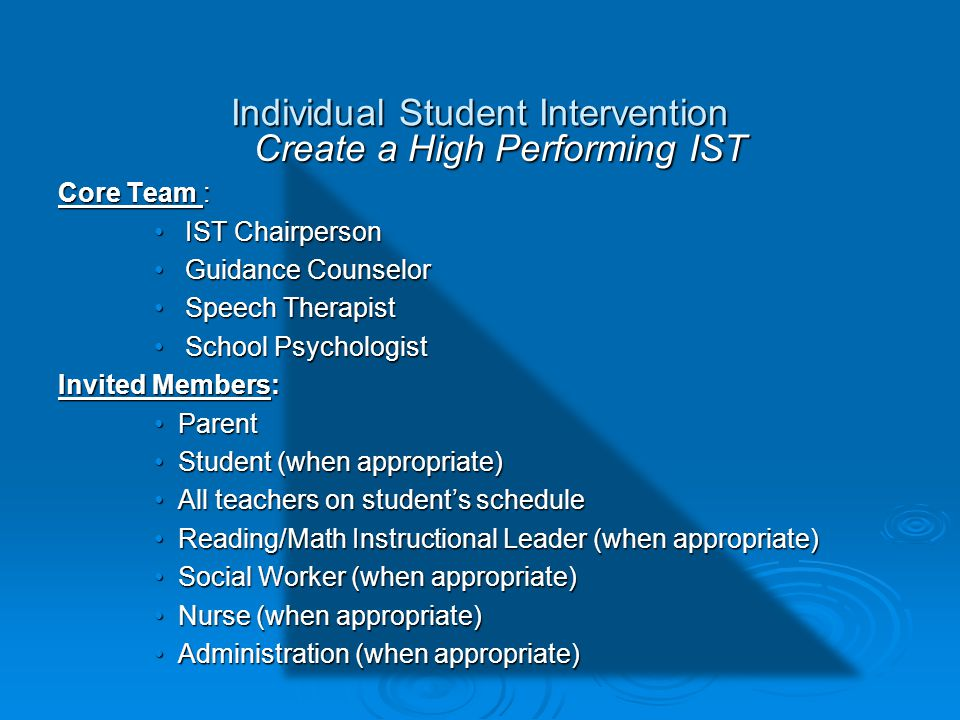 Individual Student Intervention