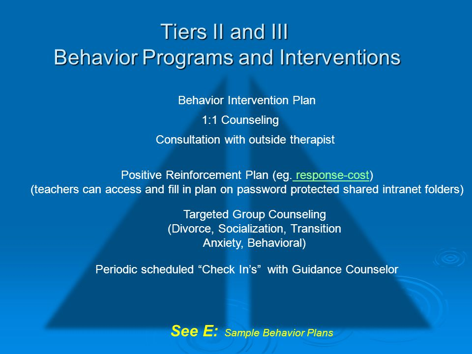 Tiers II and III Behavior Programs and Interventions