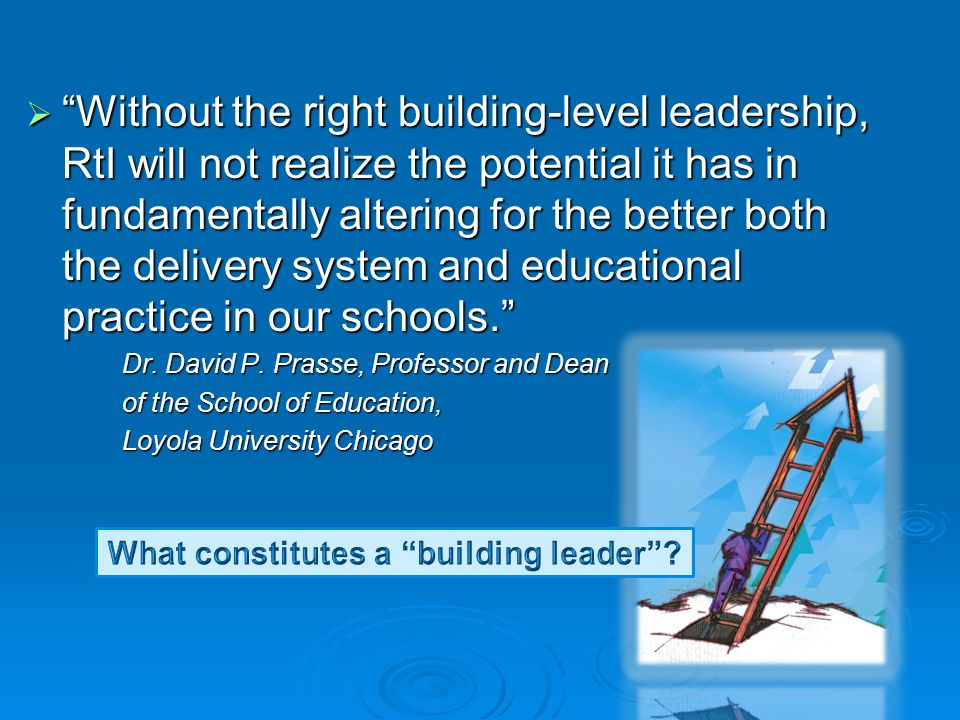 What constitutes a building leader
