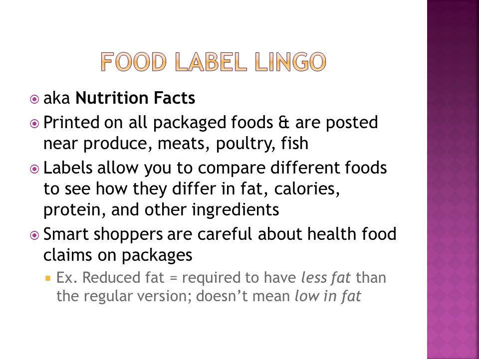 Food label lingo aka Nutrition Facts