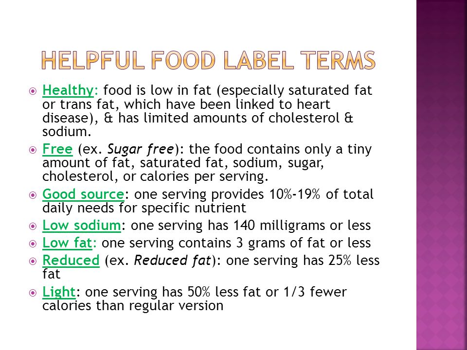 Helpful food label terms