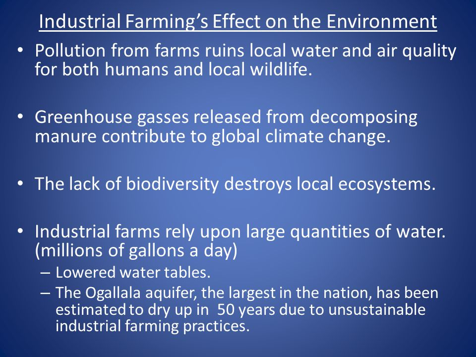 Industrial Farming's Effect on the Environment