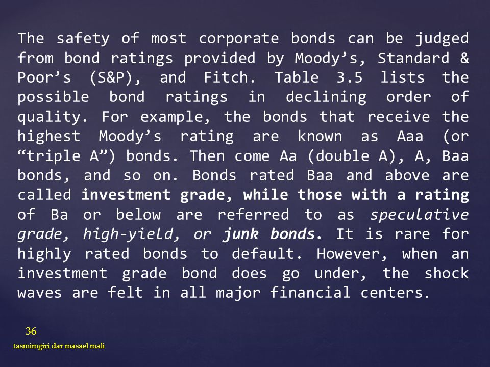 The safety of most corporate bonds can be judged from bond ratings provided by Moody's, Standard & Poor's (S&P), and Fitch. Table 3.5 lists the possible bond ratings in declining order of quality. For example, the bonds that receive the highest Moody's rating are known as Aaa (or triple A ) bonds. Then come Aa (double A), A, Baa bonds, and so on. Bonds rated Baa and above are called investment grade, while those with a rating of Ba or below are referred to as speculative grade, high-yield, or junk bonds. It is rare for highly rated bonds to default. However, when an investment grade bond does go under, the shock waves are felt in all major financial centers.
