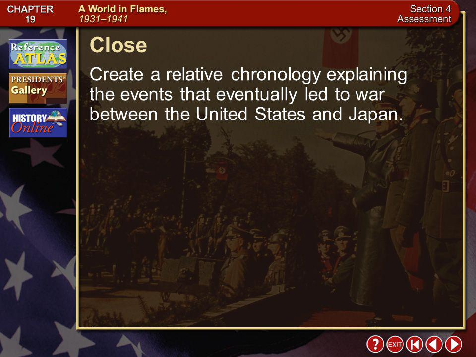 Close Create a relative chronology explaining the events that eventually led to war between the United States and Japan.