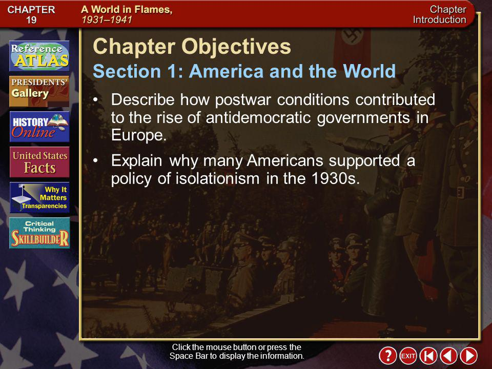 Chapter Objectives Section 1: America and the World