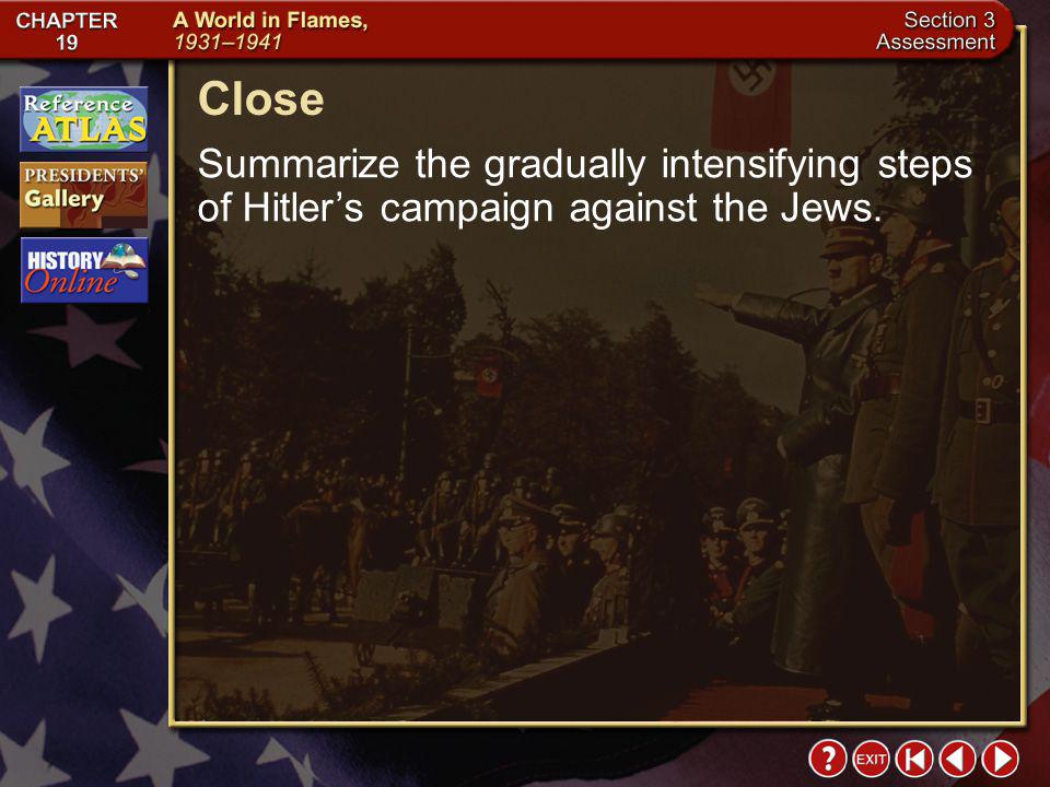 Close Summarize the gradually intensifying steps of Hitler's campaign against the Jews.