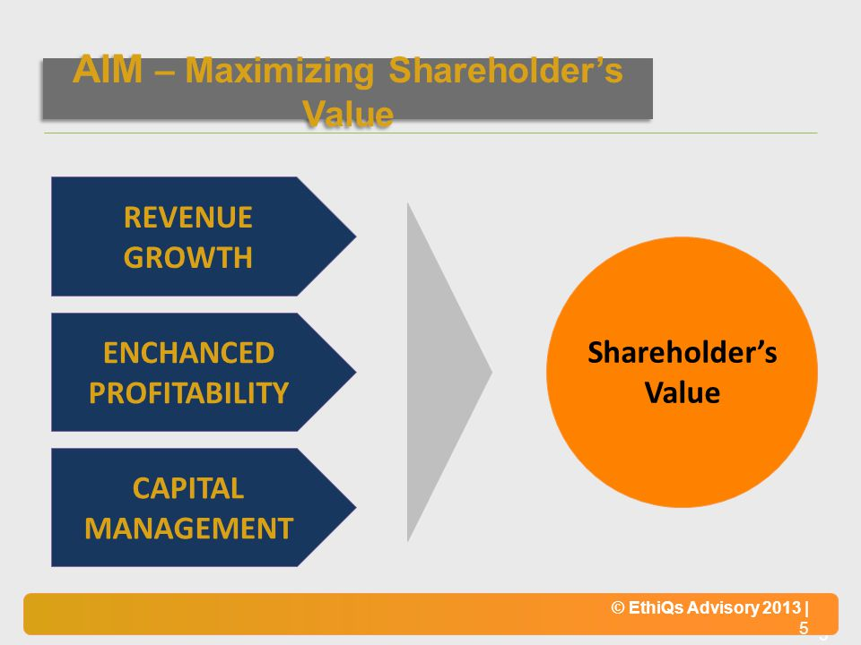 AIM – Maximizing Shareholder's Value ENCHANCED PROFITABILITY