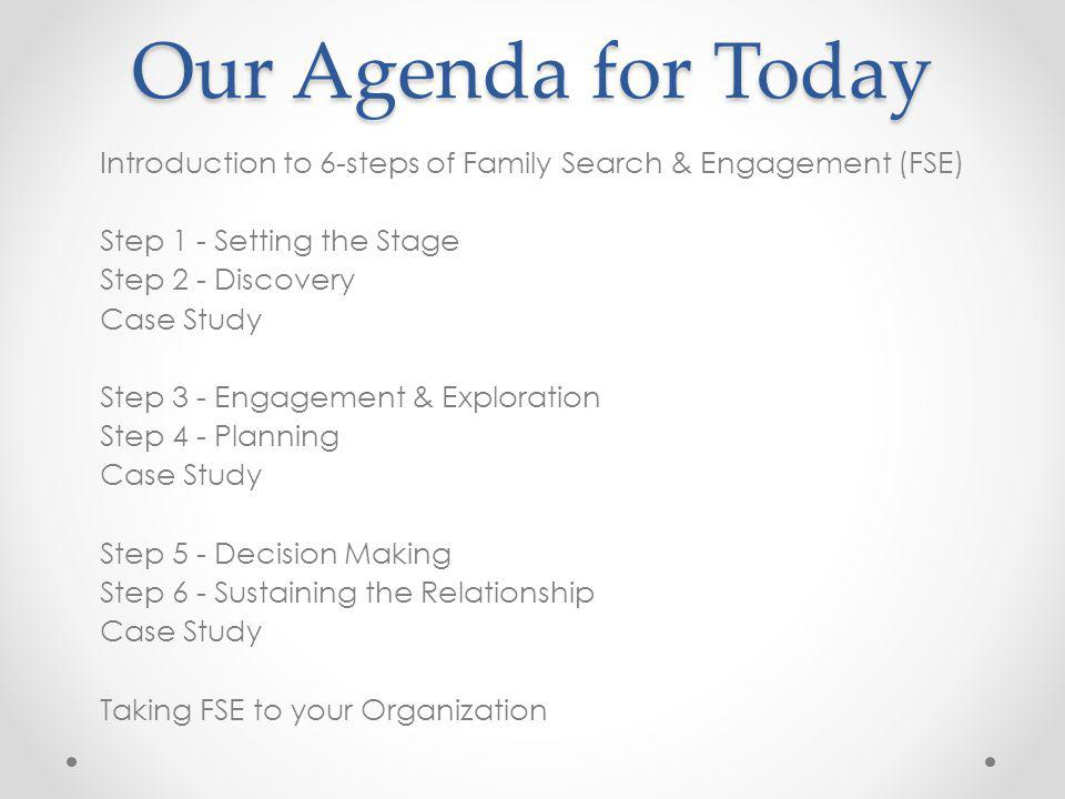 Our Agenda for Today