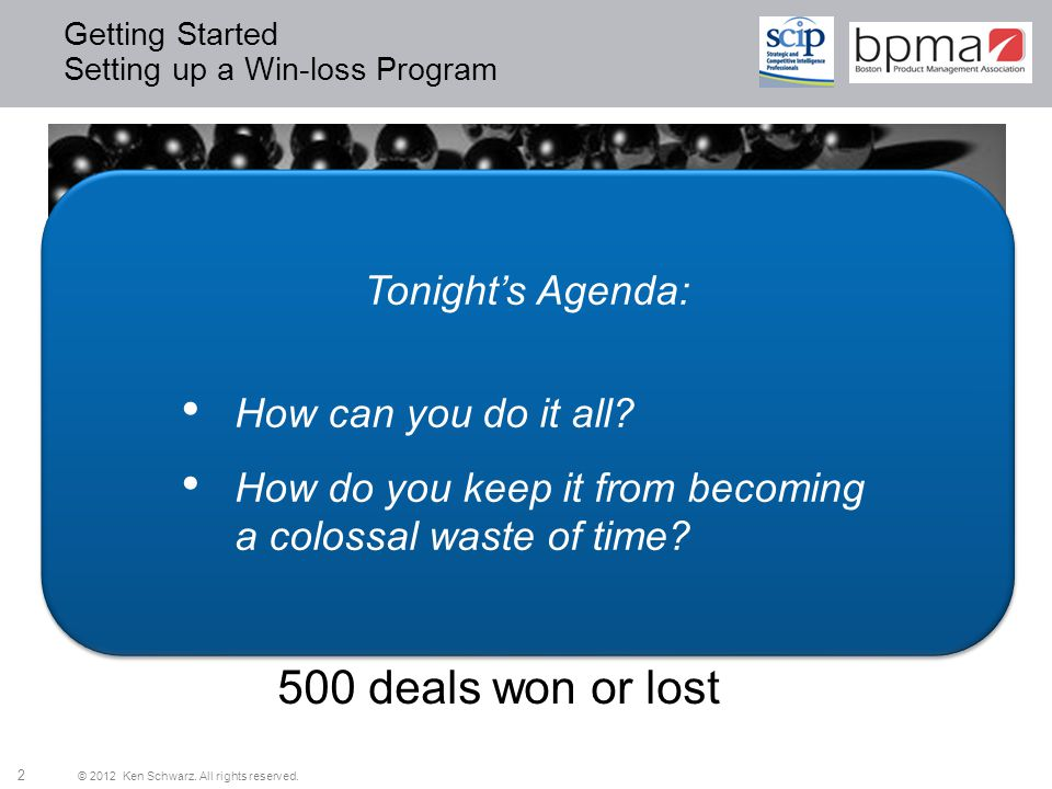 Getting Started Setting up a Win-loss Program