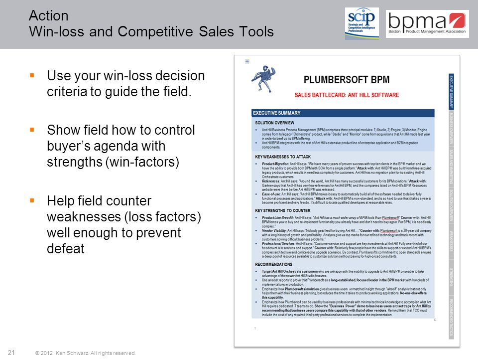 Action Win-loss and Competitive Sales Tools