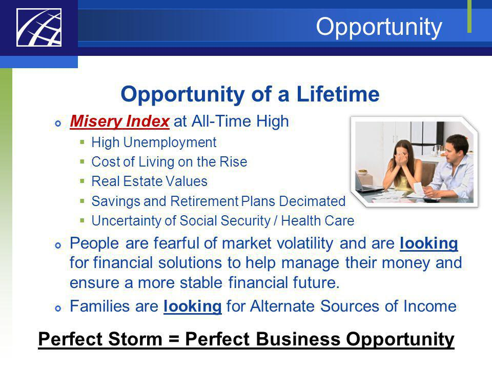 Opportunity of a Lifetime Perfect Storm = Perfect Business Opportunity