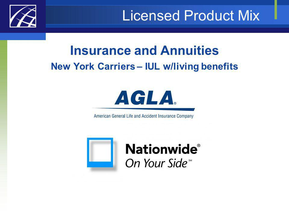 Insurance and Annuities New York Carriers – IUL w/living benefits