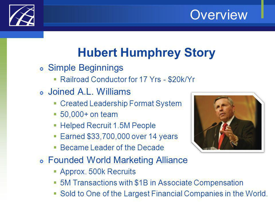 Overview Hubert Humphrey Story Simple Beginnings Joined A.L. Williams
