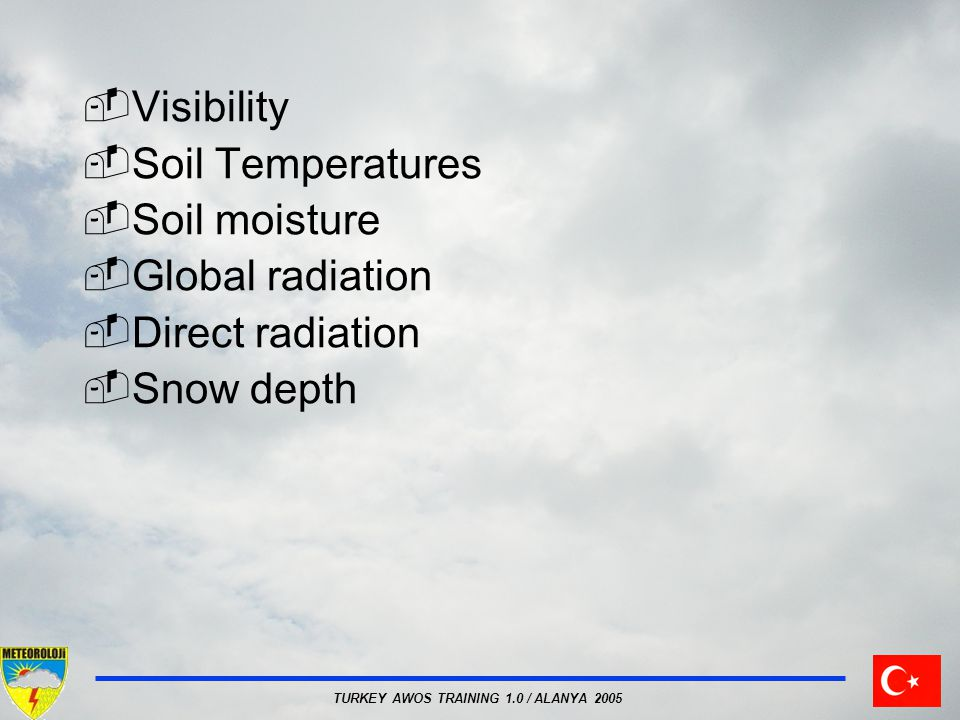 Visibility Soil Temperatures Soil moisture Global radiation Direct radiation Snow depth