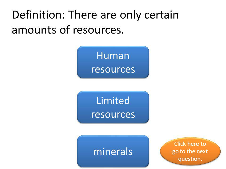Definition: There are only certain amounts of resources.
