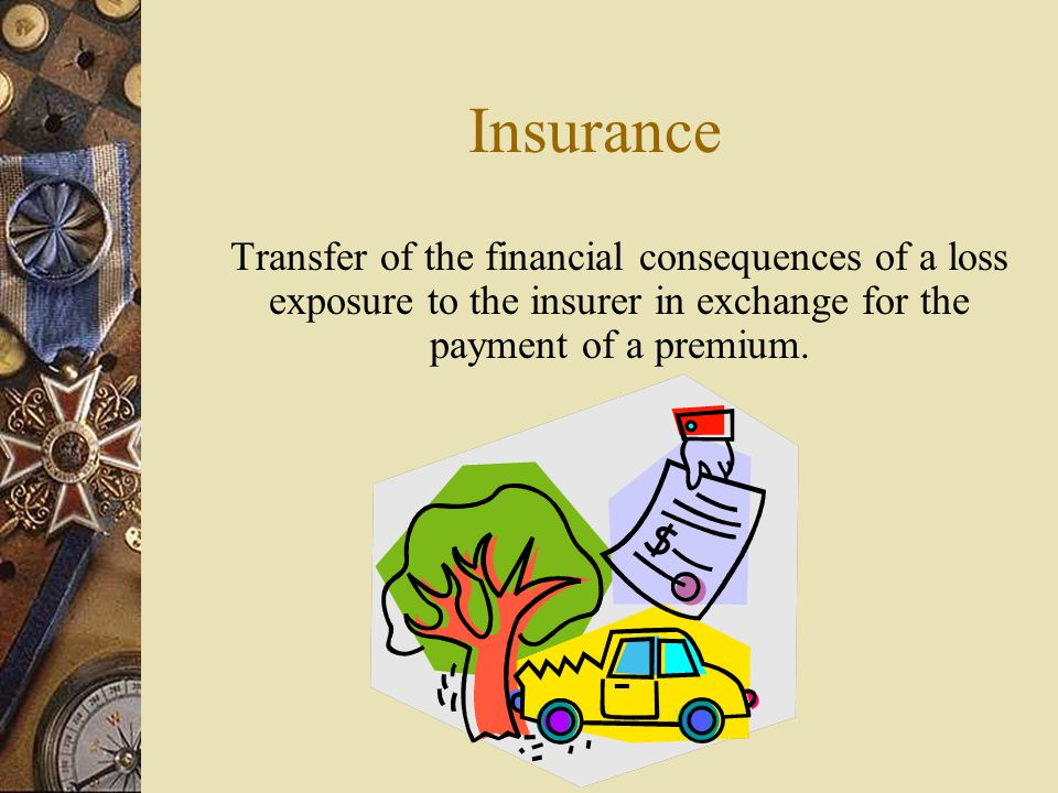 Insurance Transfer of the financial consequences of a loss exposure to the insurer in exchange for the payment of a premium.