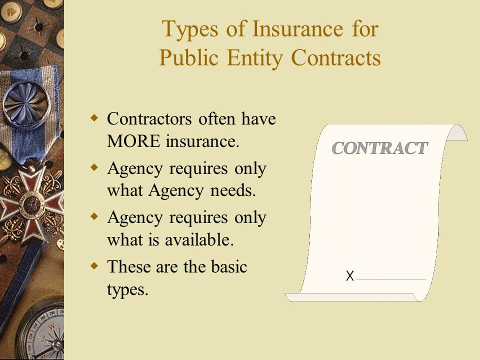 Types of Insurance for Public Entity Contracts