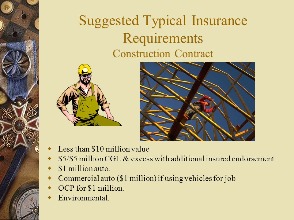 Suggested Typical Insurance Requirements Construction Contract