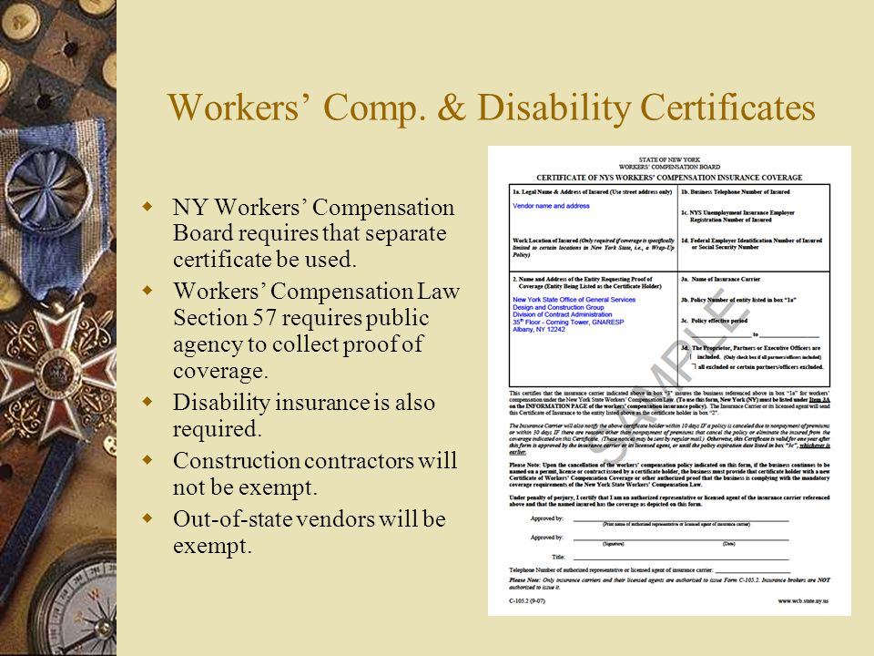 Workers' Comp. & Disability Certificates
