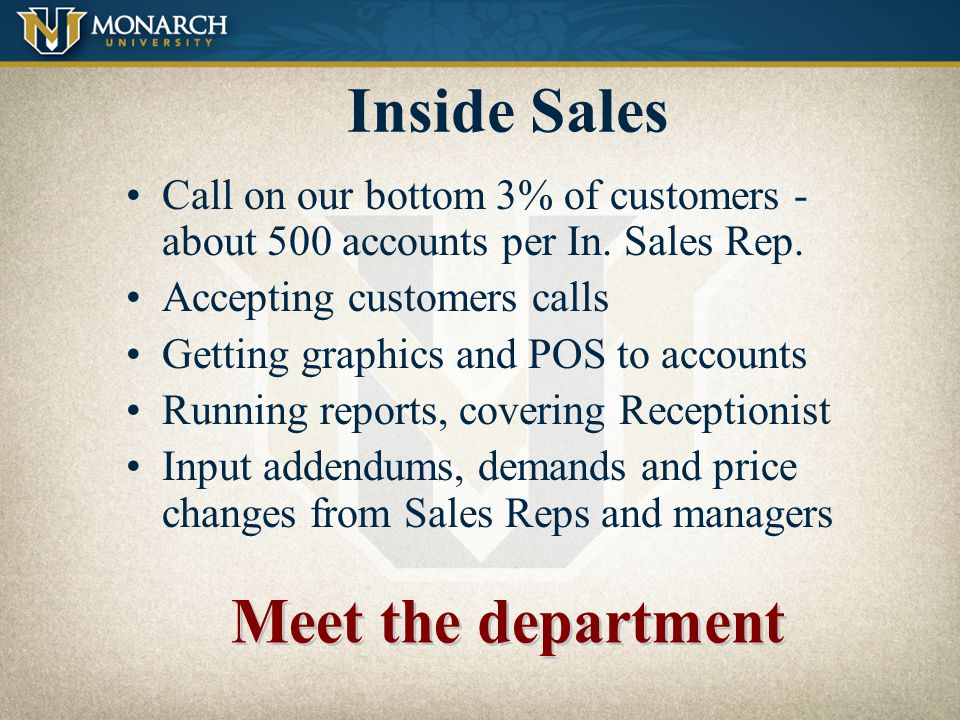 Inside Sales Meet the department