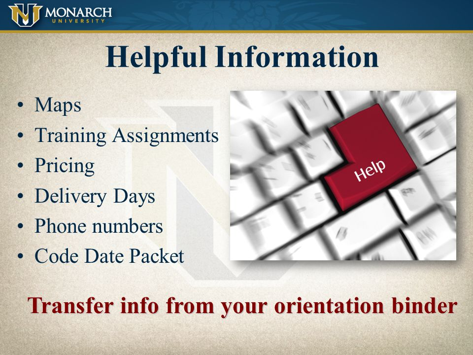 Transfer info from your orientation binder