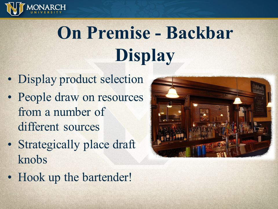 On Premise - Backbar Display
