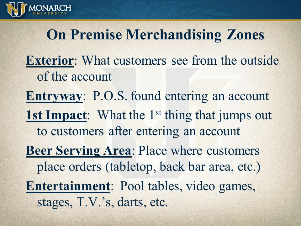 On Premise Merchandising Zones