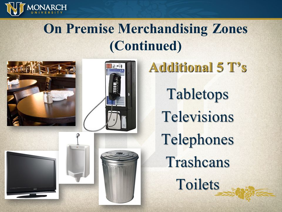 On Premise Merchandising Zones (Continued)