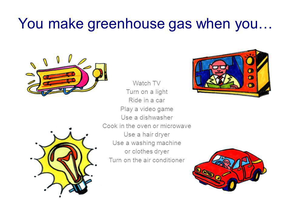 You make greenhouse gas when you…