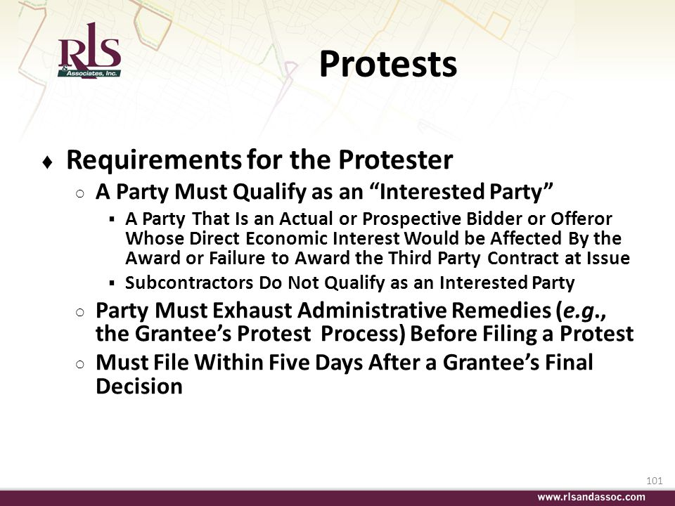 Protests Requirements for the Protester