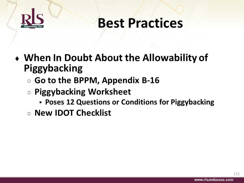 Best Practices When In Doubt About the Allowability of Piggybacking