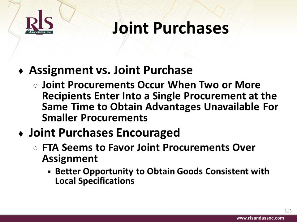 Joint Purchases Assignment vs. Joint Purchase