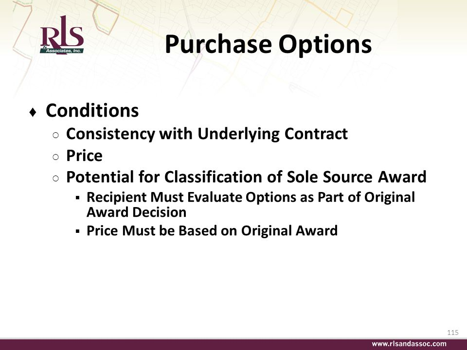 Purchase Options Conditions Consistency with Underlying Contract Price