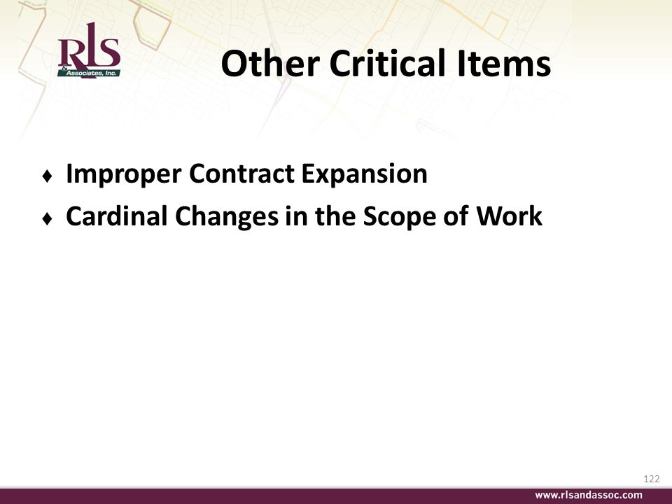 Other Critical Items Improper Contract Expansion