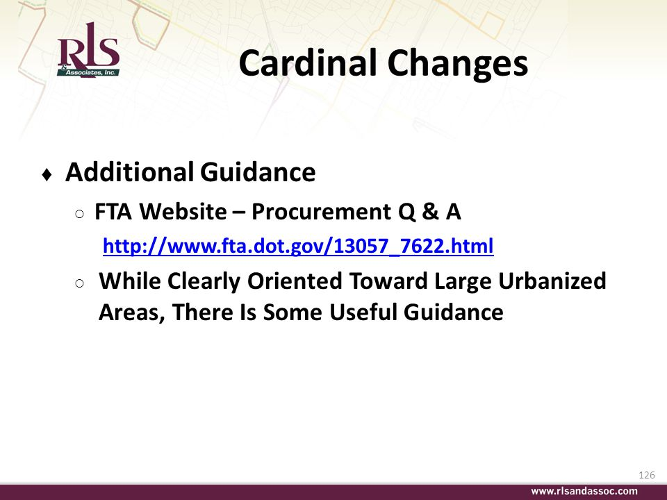 Cardinal Changes Additional Guidance FTA Website – Procurement Q & A