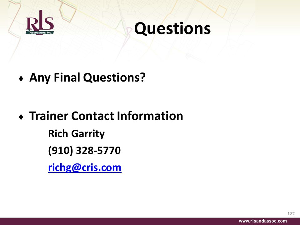 Questions Any Final Questions