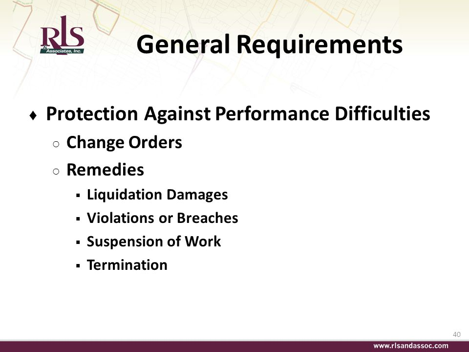 General Requirements Protection Against Performance Difficulties