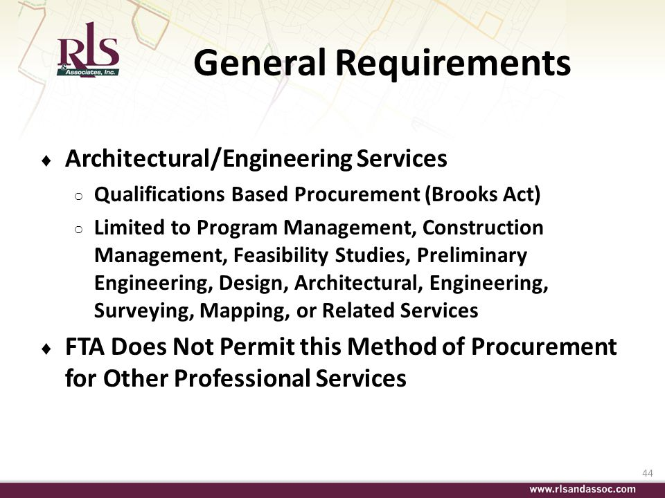 General Requirements Architectural/Engineering Services