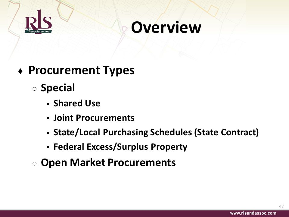 Overview Procurement Types Special Open Market Procurements Shared Use